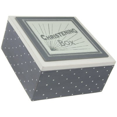 Christening Keepsake Box - Grey Design - Fifth Corner & BlueBird