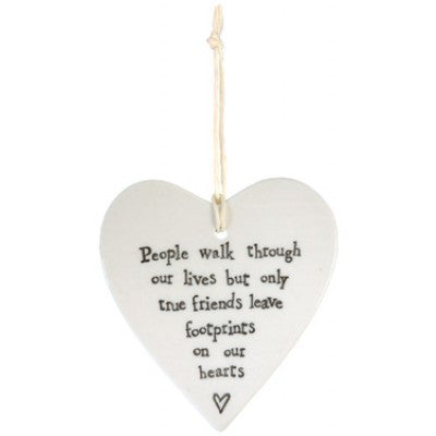 Porcelain Hanging Heart - People Walk Through - Fifth Corner & BlueBird