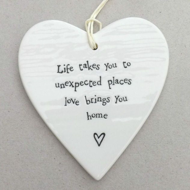 Porcelain Hanging Heart - Life takes you to Unexpected Places - Fifth Corner & BlueBird