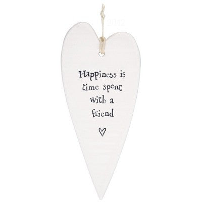 Porcelain Hanging Heart - Happiness Is Time Spent With a Friend - Fifth Corner & BlueBird