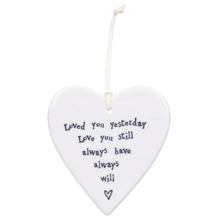 Porcelain Hanging Heart - Loved You Yesterday - Fifth Corner & BlueBird