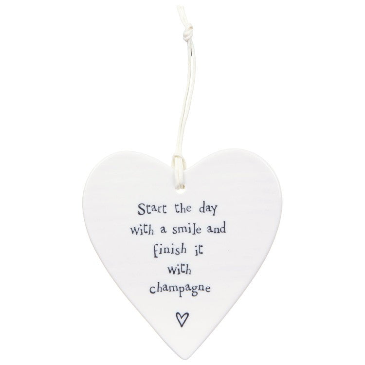Porcelain Hanging Heart - Start the day with a Smile, Champagne - Fifth Corner & BlueBird