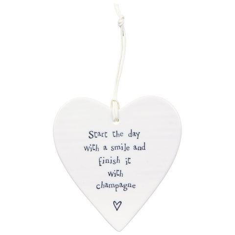 Porcelain Hanging Heart - Start the day with a Smile, Champagne