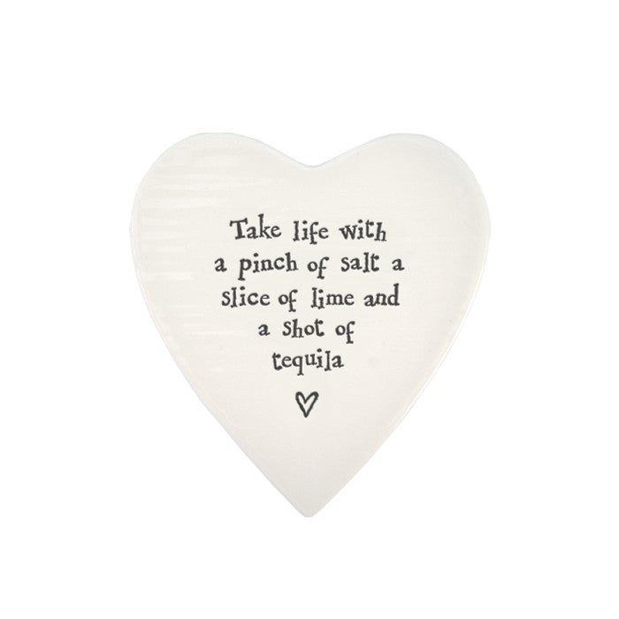 Porcelain Heart Coaster - Take Life with a Pinch Of Salt.. - Fifth Corner & BlueBird