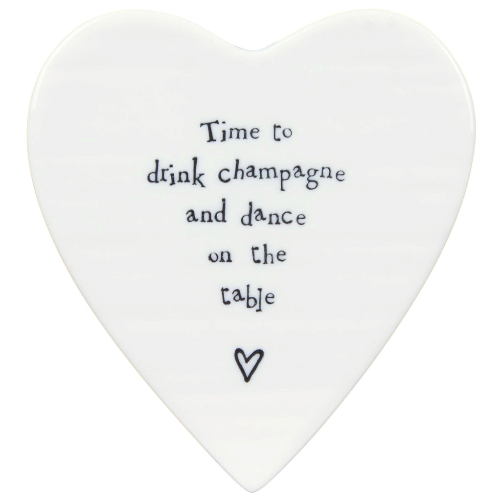 Porcelain Heart Coaster - Time to drink Champage - Fifth Corner & BlueBird