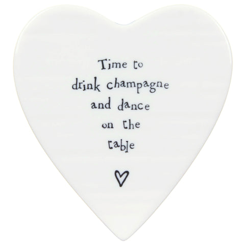 Porcelain Heart Coaster - Time to drink Champage