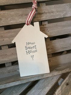 Home Sweet Home House Shaped Sign - Fifth Corner & BlueBird