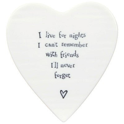 Porcelain Heart Coaster - I Live for the Nights - Fifth Corner & BlueBird