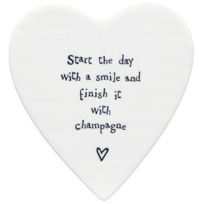 Porcelain Heart Coaster - Start the day with a Smile, Champagne