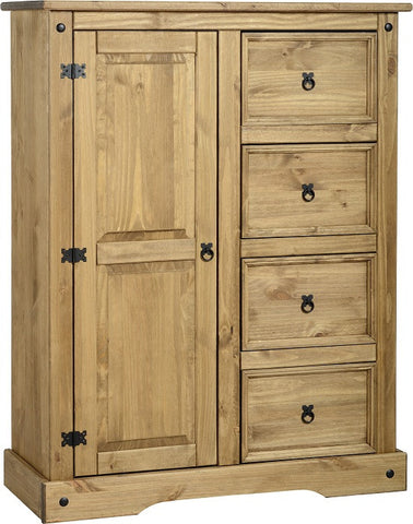 Rustic 1 Door 4 Drawer Low Wardrobe - Furniture