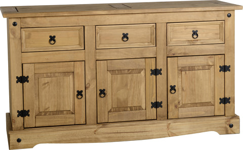 Rustic Medium 3 Door 3 Drawer Sideboard - Furniture