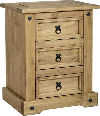 Rustic 3 Drawer Bedside Chest - Furniture