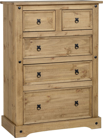 Rustic 3+2 Drawer Chest - Furniture