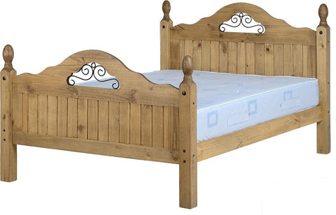 "Rustic Scroll 4'6"" Bed High Foot End - Furniture"