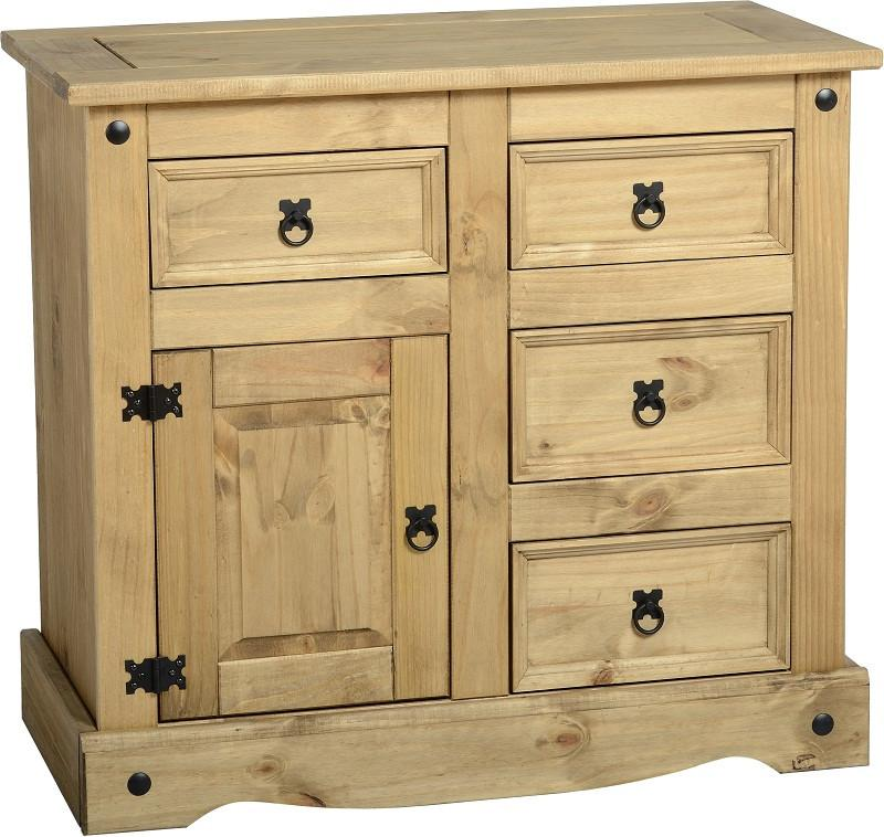 Rustic 1 Door 4 Drawer Sideboard - Furniture - Fifth Corner & BlueBird - 1