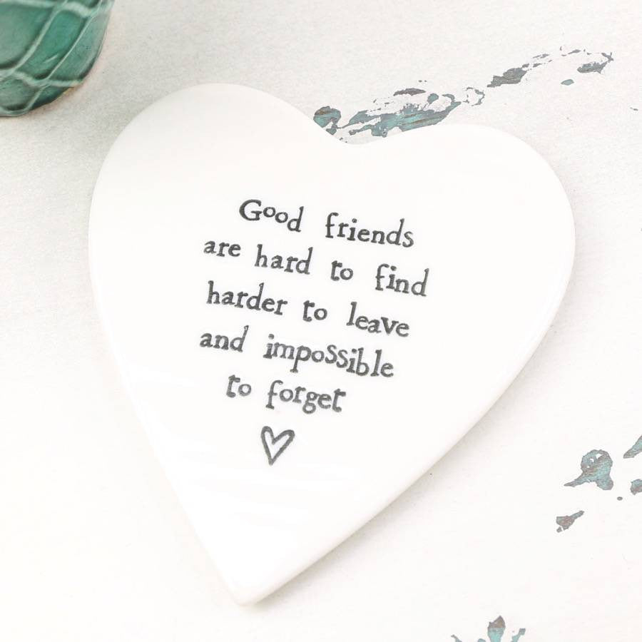 Porcelain Heart Coaster - Good Friends are Hard - Fifth Corner & BlueBird