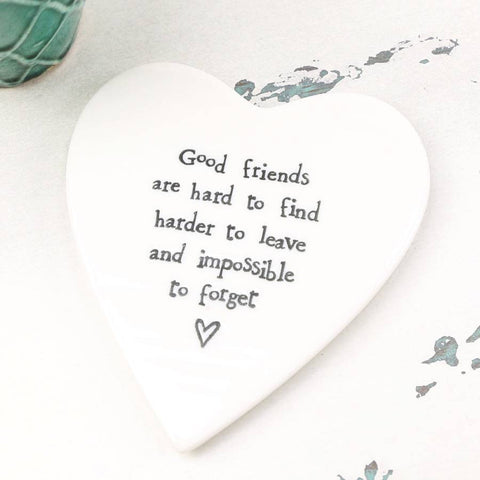 Porcelain Heart Coaster - Good Friends are Hard