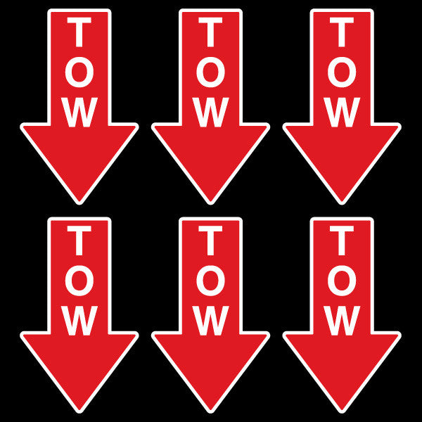 RALLY TOW HOOK ARROW DECALS (PRINTED) - 6PK