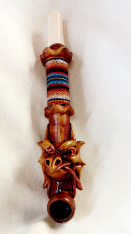 "Peruvian 8"" Dragon head with Cloth Wood with Bone Pipe"