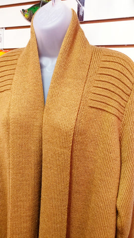 100%  ALPACA Open Cardigan Sweater with Pockets