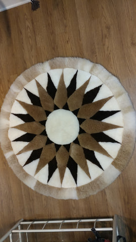 "43"" Round Sun Design Alpaca Rug or Wall Hanging"