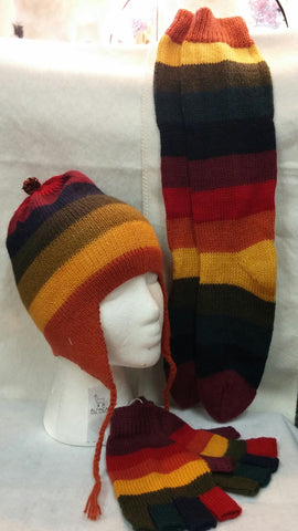 Alpaca Striped Hat, Socks, and Fingerless Gloves Set
