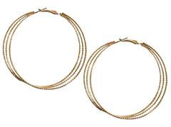 Layered hoop statement gold earrings