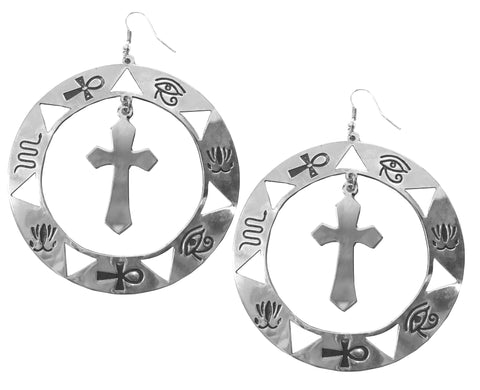 Egyptian cross hoop statement earrings silver