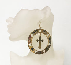 Egyptian cross hoop statement earrings