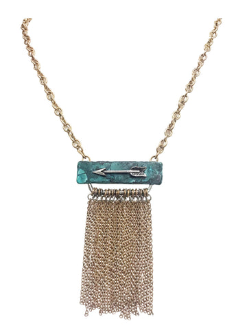 Patina cowgirl rodeo chain fringe necklace