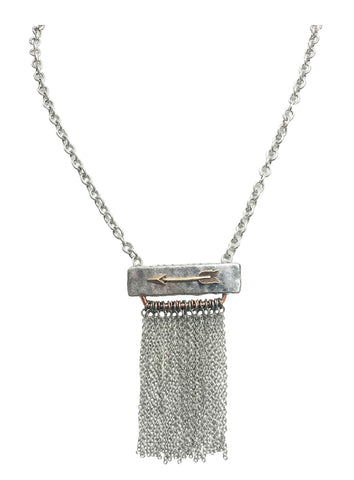 Silver cowgirl rodeo chain fringe necklace