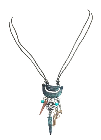 Leather cord western cowgirl rodeo charm necklace with winchester bullet