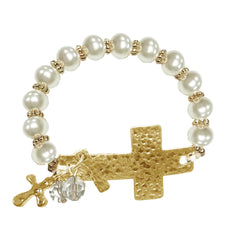 Pearl side cross bracelet with charm rodeo cowgirl