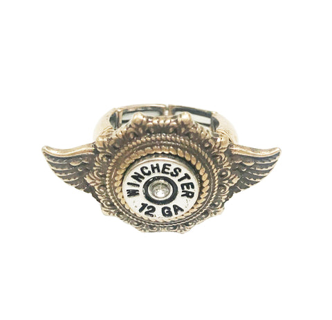 Cowgirl angel wing rodeo winchester bullet ring in COPPER