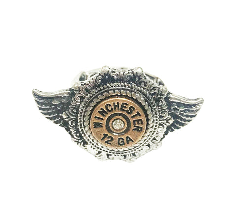Cowgirl angel wing rodeo winchester bullet ring in SILVER