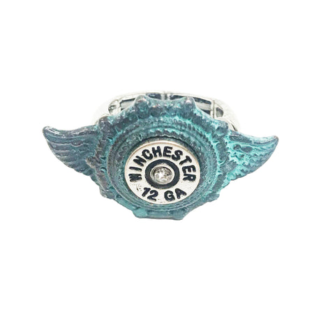 Cowgirl angel wing rodeo winchester bullet ring in patina