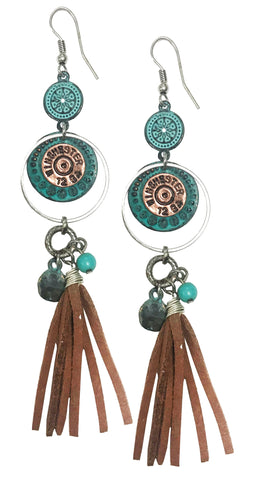 Western COWGIRL coin tassel suede charm bullet earrings
