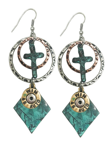 Western copper hoop earrings with diamond charm (PATINA)