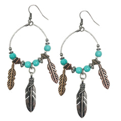 Feather turquoise hoop western rodeo cowgirl earrings