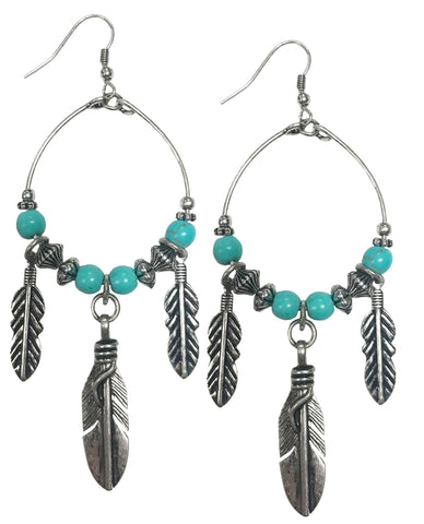 Western cowgirl turquoise hoop earrings with feather charm