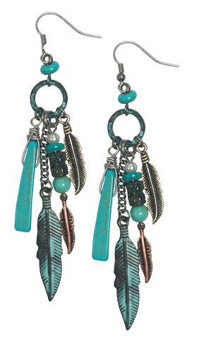 Western cowgirl turquoise hoop earrings with winchester bullet (Patina)