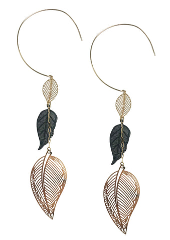 Leaf charm hoop threader earrings