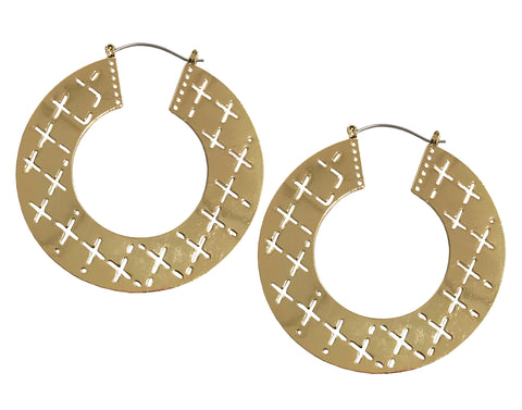 Statement pattern hoop earrings