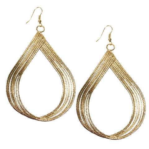 Teardrop metal statement hoop earrings