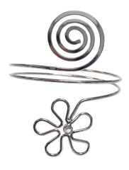 Silver spiral upper arm cuff with floral shape and stone