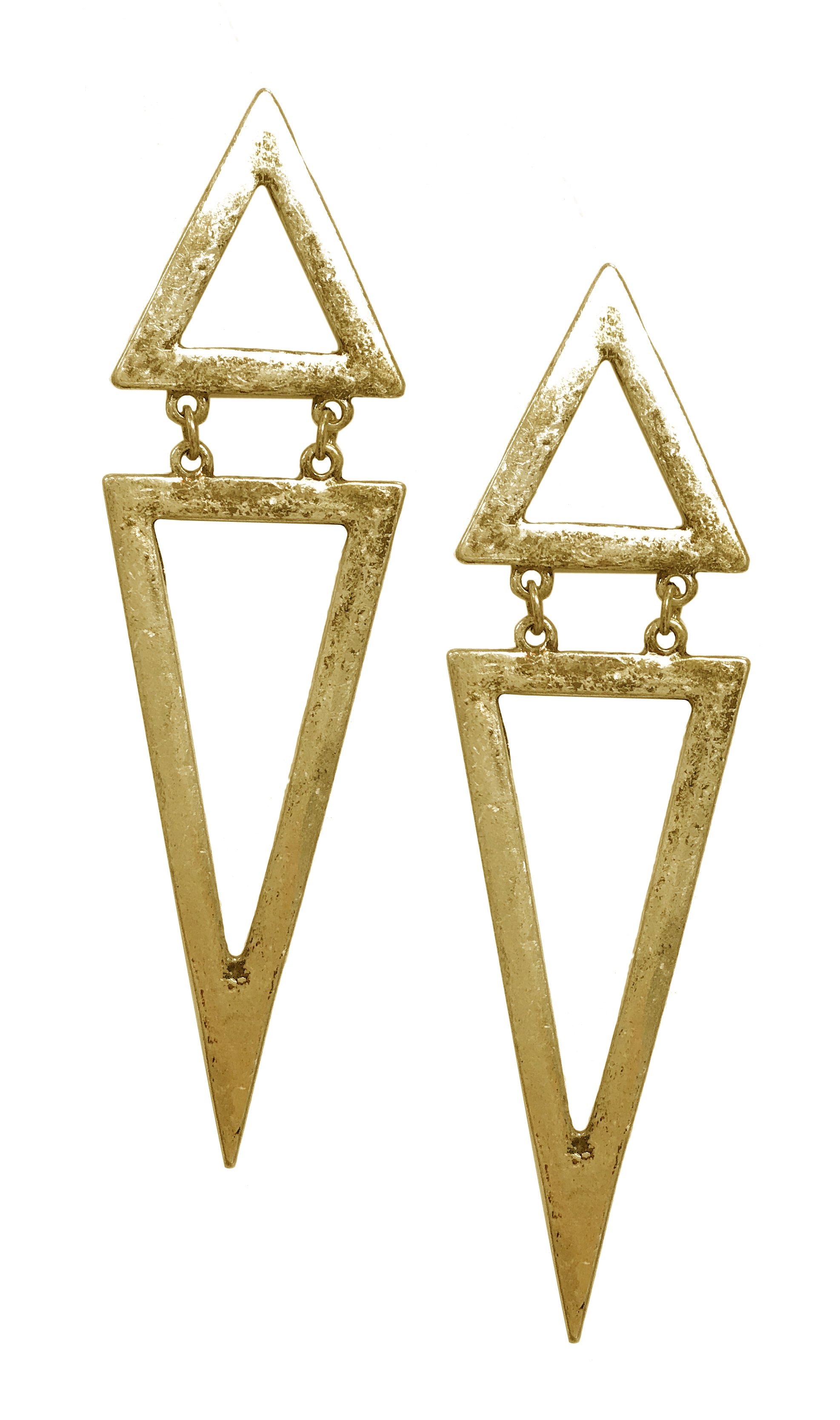 Triangle hinged statement antique fashion boho earrings