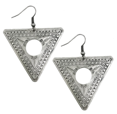 Antique boho tribal stamped triangle earrings