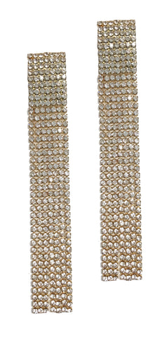 Rhinestone statement drop earrings (Gold)