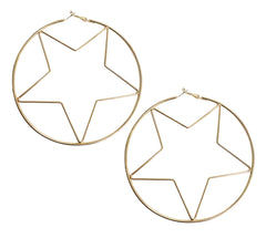 Statement star shaped hoop earrings
