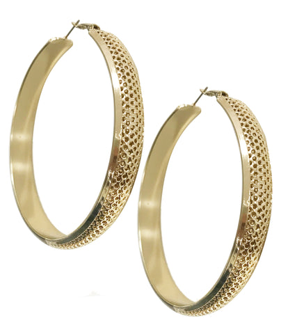 Bold gold plated statement hoop earrings